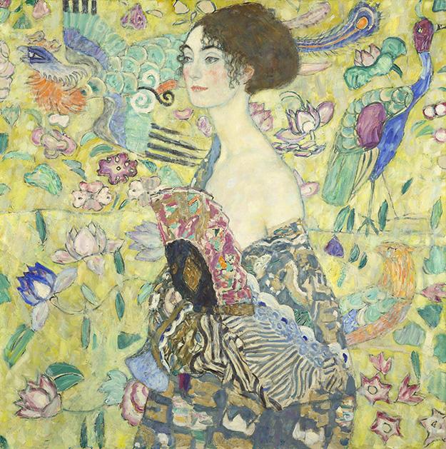Klimtovo poslední dílo Dáma             s vějířem na návštěvě v Belvederu
